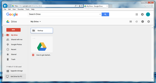 Change Google Drive folder