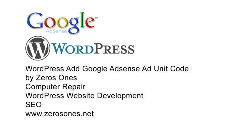 WordPress add Google Adsense ad unit code