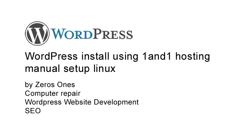 WordPress Install 1and1 Hosting Linux Hosting