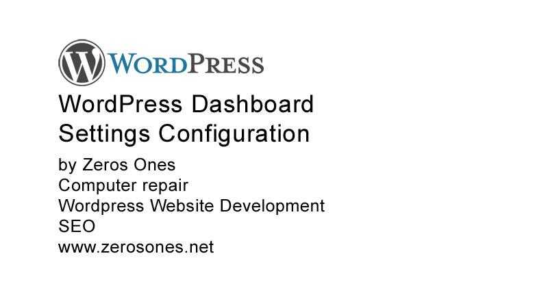 WordPress Dashboard Settings Configuration