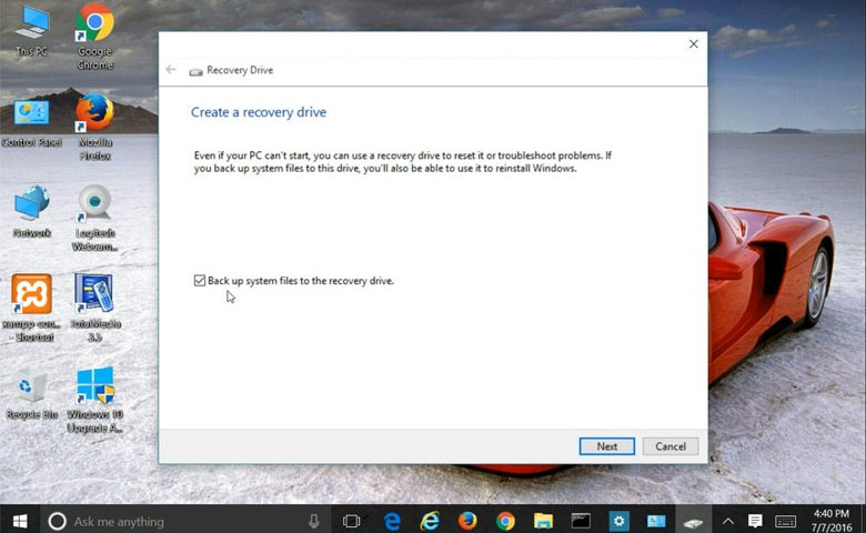 Create Windows 10 Recovery Drive