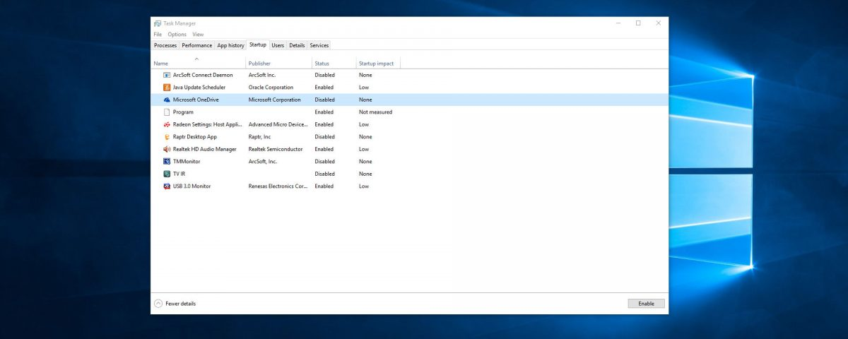 Windows 10 Disable OneDrive on Startup