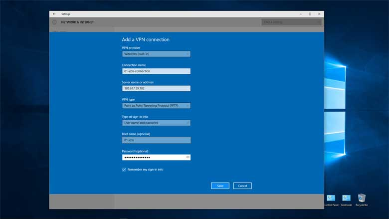 VPN Setup Service Windows 10